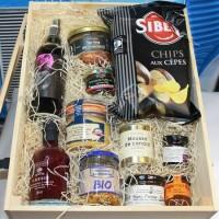 Gourmandise paket i en snygg trälåda